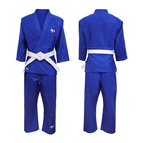 Starpro Kimono Judo GI 350 Grammi Com Miscela di Cotone Premium. Uniforme Professionale per Allenamento e Competizioni - Biano e Blu - Uomini, Donne e Bambini - 110-190 cm - Senza Cintura