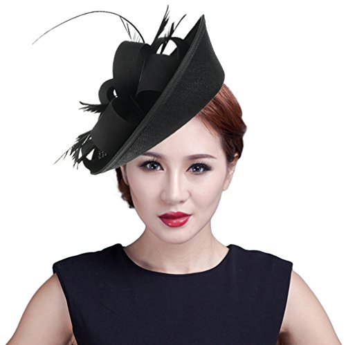 EOZY Mujer Tocado de Boda Sombrero Vintage Negro