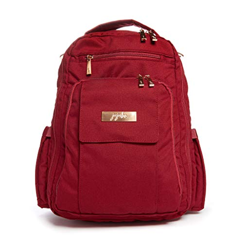 JuJuBe Be Right Back Backpack | Tibetan Red | Chromatics | Travel-Friendly Diaper Bag, Compact Stylish Backpack Purse For Kids and Adults, Adjustable Straps, Machine Washable