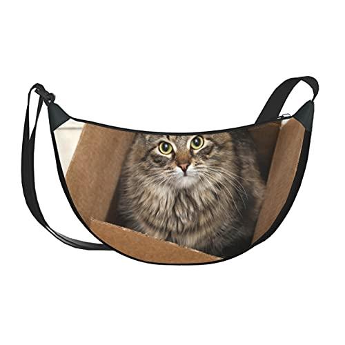 ALALAL Umhängetasche Kleine Süße Katze Im Karton Umhängetasche Umhängetasche Frauen Umhängetaschen Für Frauen Mit Reißverschluss Für Frauen