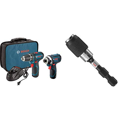 Bosch Power Tools Combo Kit CLPK22-120 - 12-Volt Cordless Tool Set with 2 Batteries, Charger and Case & ITBHQC201 2 1/4', Impact Tough Quick Change Bit Holder