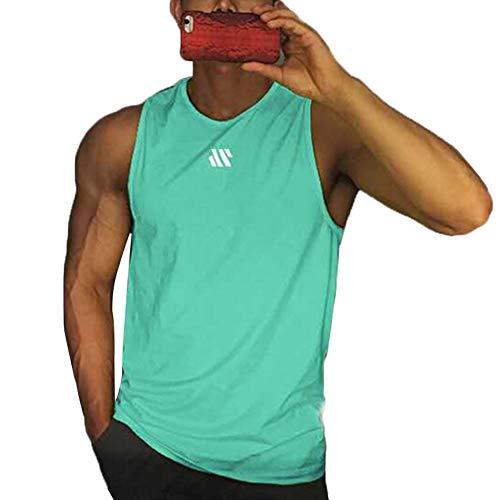 Camiseta sin Mangas de Entrenamiento para Hombre Chaleco para Correr Camiseta sin Mangas de Gimnasia Informal de Verano (Lake Blue, XXL)