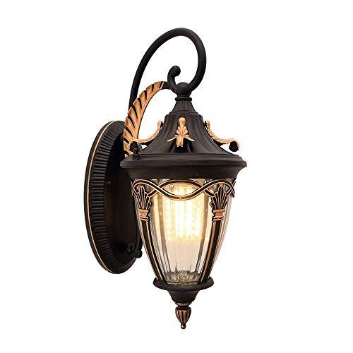 Rustic Outdoor wandlamp, Zwart Goud Licht van de Muur, Industrial Lantern Veranda verlichting Waterdichte Retro Boerderij Lamp for Indoor Slaapkamer Woonkamer