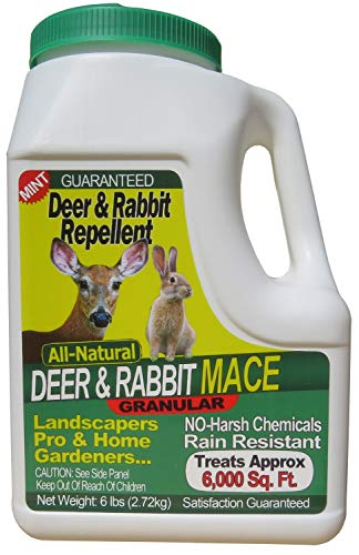 Nature's Mace Deer & Rabbit Repellent 6lb / Covers 6,000 Sq. Ft. / Repel Deer from Your Home & Garden. Safe to use Around Children, Plants & Produce. Protect Your Garden Instantly