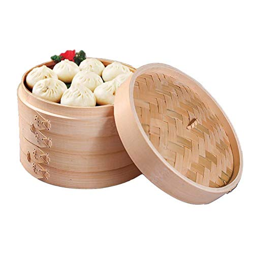 KELUNIS Vaporizador de bambú de 8 Pulgadas, Caja Individual, 2 Niveles y Tapa, cocinar al Vapor albóndigas, Verduras, Carne, Pescado, arroz, bambú 100{14484cf3f3e28e4f701dcccd41ca55a92ce253872878a5e435e47b31c5a445ee} Natural