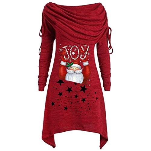 Sweatshirt Damen Pullover Langarm Sweater Lose Plissee Tunika Pulli Freizeithemd Piebo Frauen Weihnachten Top Bluse Casual Jumper Oberteile Outwear Herbst Winter Weihnachtsmann Weihnachtselch Drucken