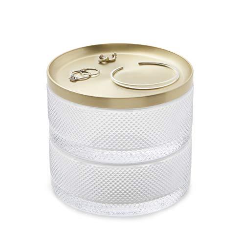 Umbra Tesora Jewelry Organizer, Two-Tier Storage Box with Removable Lid, Glass/Brass