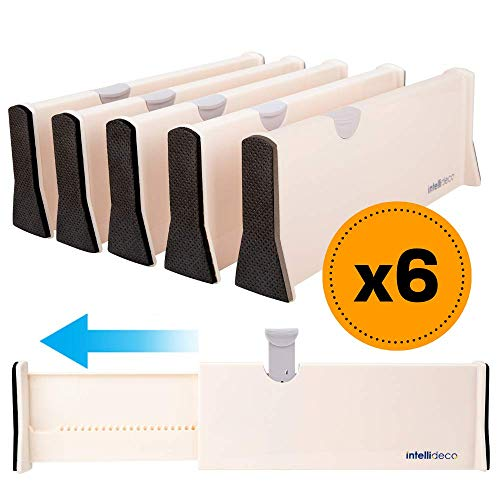INTELLIDECO Drawer Dividers Organizer (6 Pack), Expandable Drawer Divider Organizers from 11'-17', Adjustable Separators Perfect for Bedroom, Dresser, Kitchen and Office Use