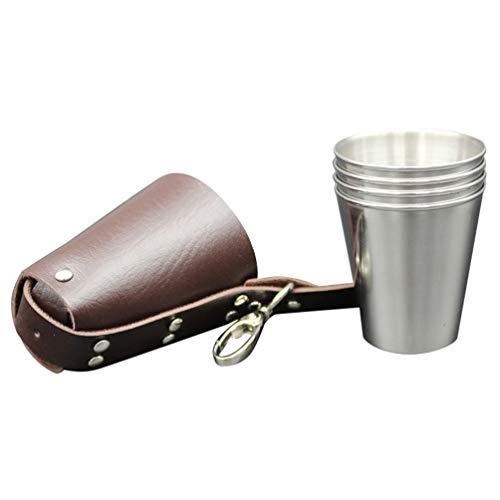 Toyvian - Juego de 5 vasos de acero inoxidable para café, tazas...