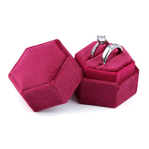 Jolicobo Sechseck Ehering Box/Samt Ring Bearer Box/Schmuck Ohrring Geschenkbox für Hochzeit Verlobungsring Valentinstag (Weinrot)