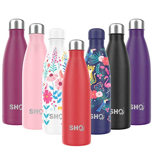 SHO Bottle - Ultimate Vacuum Insulated, Double Walled Stainless Steel Water Bottle & Drinks Bottle - 24 Hrs Cold & 12 Hot - Sports Vacuum Flask BPA Free (1000ml, Volcanic Red 2.0 - Powder Coated)