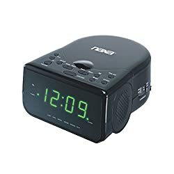 NAXA Electronics NRC-176 Digital Alarm Clock, 0.9 LED Display, Stereo Speakers, Plays CD/CD-R/AM/FM Radio, Black