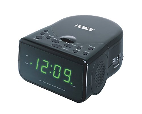 NAXA Electronics NRC-176 Digital Alarm Clock, 0.9 LED Display, Stereo Speakers, Plays CD/CD-R/AM/FM Radio, Black