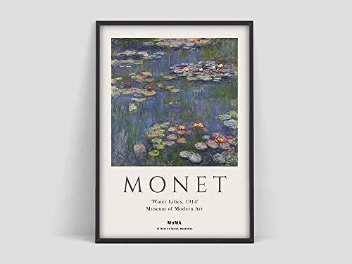 Claude Monet Poster , Monet Seerosen , Ausstellungsplakat Museum of Modern Art , Monetart Print, rahmenloses Leinwandbild H 30x40cm