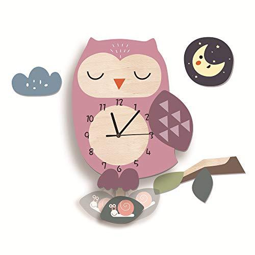 Kinder Uhr ohne Tickgeräusche, Kinderuhr für Kinderzimmer, Lautlos Uhrwerk, Wanduhr Wolken, Wanddeko Deko Jungs Mädchen (Eule)