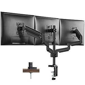 "PUTORSEN® Aluminium Triple Monitor Mount for 17-27"" Screens - Gas Powered Three Arm Desk Mount Bracket with Clamp - ±90° Tilt, 360° Rotation & ±90° Swivel Arms - VESA: 75x75-100x100, Up to 7kg per Arm"