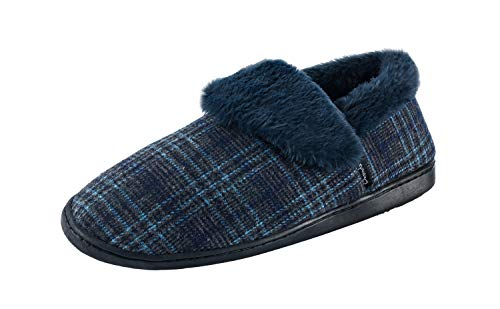 Ommda Hausschuhe Herren Plaid Wolle Warm Pantoffeln Plüsch Gefüttert Memory Foam Mokassin rutschfest Haus Wärmehausschuhe 48 Tiefblauer Pelzkragen