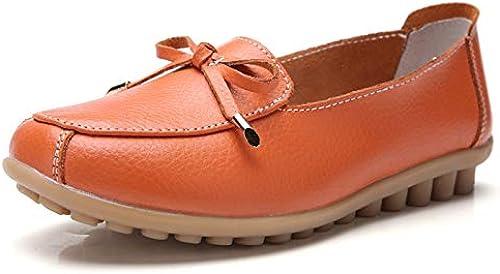 Chaussures Chaussures Plates Femme,Vintage Original Fermé Toe Ronde Occasionnels Glisser Sur Bow En Cuir Naturel Souple Confortable à Enfiler Semelle En Caoutchouc Souple Mocassins Chaussures Bateau Femmes Orang