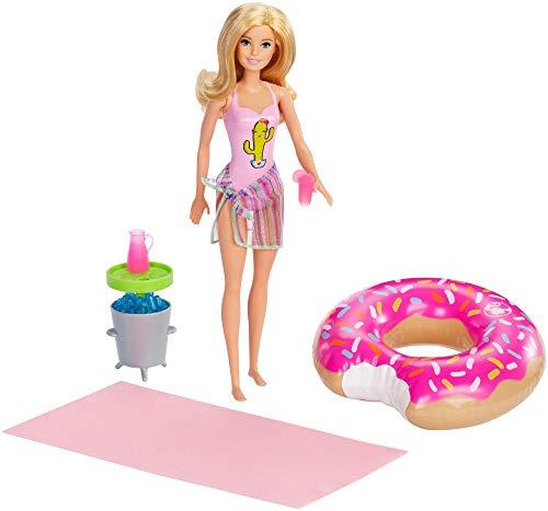 Barbie Muñeca Rubia con Flotador de Piscina en Forma de Donut Rosada y Bañador Rosado (Mattel GHT20)
