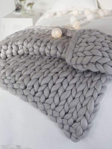 Fankr Grob gestrickte Kuscheldecke, Decke Handgefertigtes Chunky Gestrickte Wolldecke, Merino Wolle Garn Arm Stricken werfen, Haustier Bett Stuhl Sofa Light Gray 150x200CM