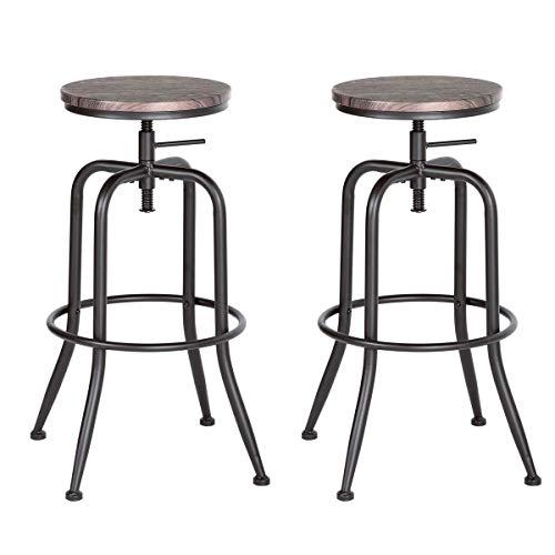 Aingoo Sgabello da Bar Vintage Set di 2 Sedie Regolabili in Cucina con Struttura in Metallo 77-79 cm, Sedia da Bar Industriale Marrone Scuro
