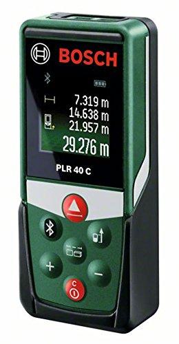 Bosch Laser-Entfernungsmesser PLR40C (2 x AAA Batterien, Messbereich 0,05 – 40,00 m, in Blisterverpackung)
