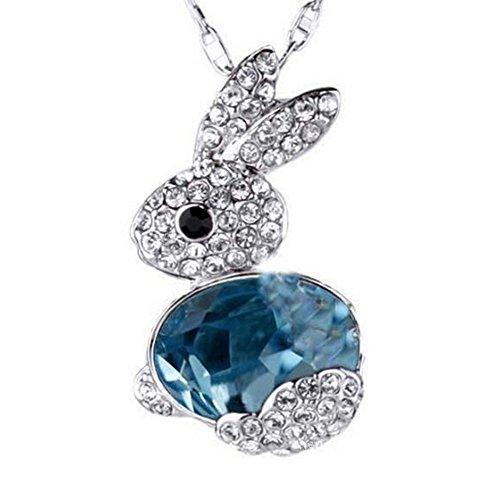 Monbedos Collier avec pendentif lapin en cristal pour...