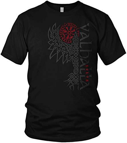 North - Rabe Valhalla Vegvisir Wikinger Walhalla Vikings Raven nordischer Kompass - Herren T-Shirt und Männer Tshirt, Größe:XXL, Farbe:Schwarz/Rot