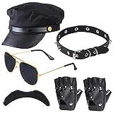 Haichen Chauffeur Accesorios para Disfraces Limo Taxi Driver Theme Sombrero Gafas Guantes Pajarita Kit Disfraz Disfraz de Boda Set de Servicio (Negro2)