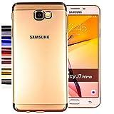 COOVY® Funda para Samsung Galaxy J7 Prime SM-G610Y /Duos SM-G610F / DS / On7 Ligera de silicio TPU, Ultrafina, Transparente con Bordes de Aspecto Cromado   Color Lata