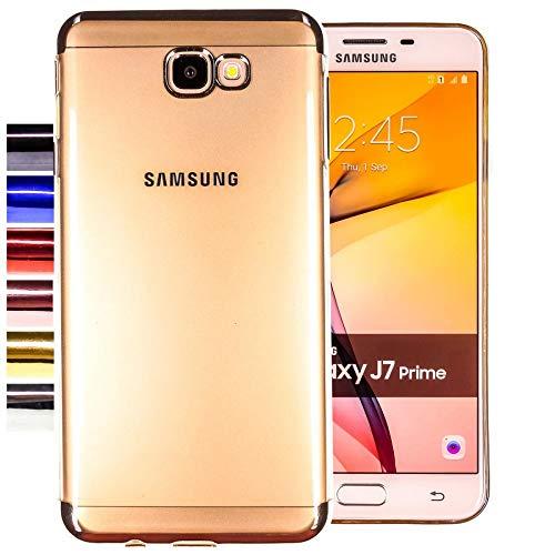 COOVY® Cover für Samsung Galaxy J7 Prime SM-G610Y /Duos SM-G610F / DS / On7 leichtes, ultradünnes TPU Silikon Bumper Hülle, transparent, Chrom Rahmen | Farbe Silber