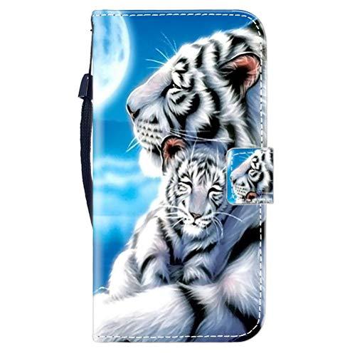 Sunrive Kompatibel mit Oppo F7 Hülle,Magnetisch Schaltfläche Ledertasche Schutzhülle Etui Leder Hülle Handyhülle Tasche Schalen Lederhülle MEHRWEG(Tiger umarmen B1)