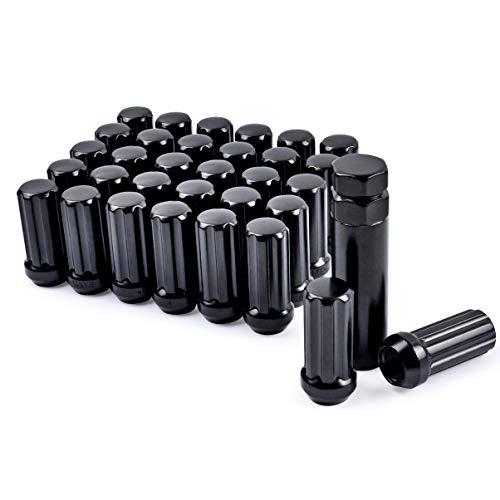 MIKKUPPA M14x1.5 Wheel Lug Nut, Replacement for Chevy Silverado 1500 2500, GMC, Ford, Ram, Aftermarket Wheel - 32pcs Black Closed End Lug Nuts with 1 Socket Key