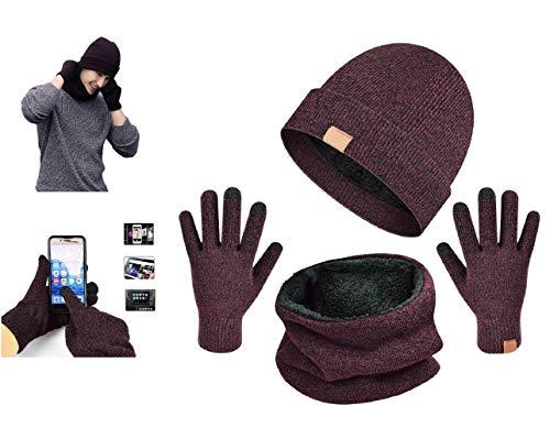 UMIPUBO Handschuhe Schal Mütze mit Fleecefutter Set Herren Wintermütze Touchscreen Handschuhe Beanie Warme Schal Strickmütze Unisex (Ziegelrot)