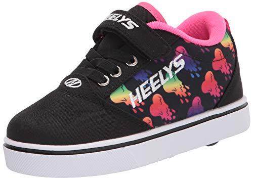 Heelys Pro 20 X2, Zapatos con Ruedas para Niñas, Black/Rainbow Metallic Hearts, 29/30 EU