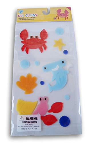 Summer Themed Crabs and Shark Window Gel Clings - 22 Piece