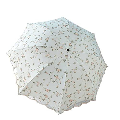 Parasol de Encaje Paraguas Anti-UV protección Sol Sombra UPF 50+ Paraguas Plegable Ligero y portátil,A,Standard