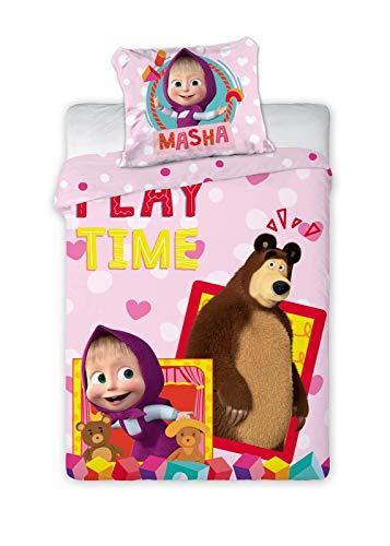 BrandMac ApS Mascha und der Bär Baby-Bettwäsche-Set 100% Baumwolle Bettbezug 100x135 Kissenbezug 40x60 Klein-Kinderbettwäsche Masha Kinderbett