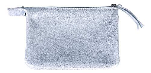 Clairefontaine 400043C Kleine Mappe Plume (mit 2 Fächern aus Lammwildleder, mit Perlmutt-Effekt, 13x9 cm) 1 Stück hellblau