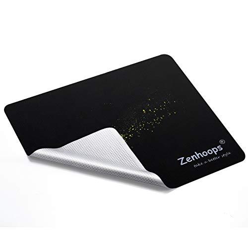 2枚入り マウスパッド 超薄型 マイクロファイバー製 厚さわずか0.4mm 滑り止め 水洗い メガネ 液晶 時計でも使える多機能グッズ (Black)