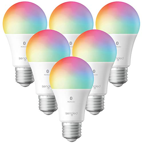 Sengled Smart Light Bulbs, Color Changing Alexa Light Bulb Bluetooth Mesh That Work with Alexa Only, Dimmable LED Bulb A19 E26 Multicolor, High CRI, High Brightness, 9W 800LM, 6 Pack, No Hub Required