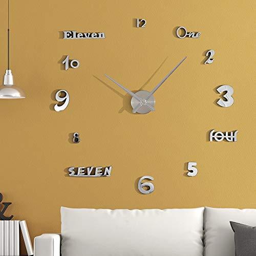 Asvert Reloj Reloj Pared Adhesivo DIY 3D Silencioso de...