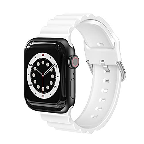 AISPORTS Compatibile con Cinturino Apple Watch 44mm 42mm Silicone per Donna e Uomo, Cinturino Business Casual con Fibbia in Metallo Cinturino di Ricambio per Apple Watch SE/IWatch Series 6/5/4/3/2/1