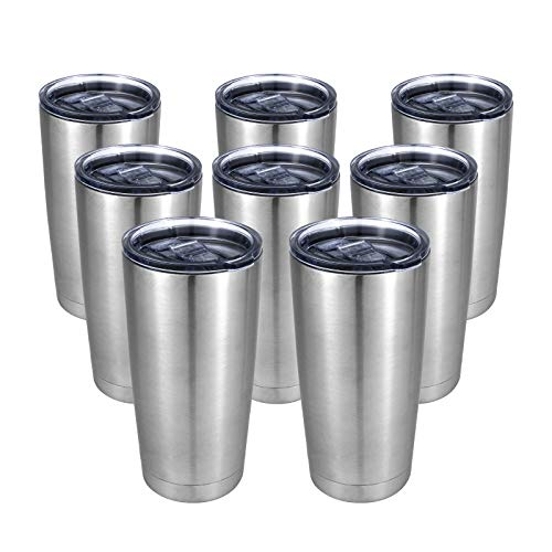 COYOAL Stainless Steel Tumblers Bulk 8 Pack, 20oz Vacuum Insulated Tumbler with Lid, Metal Travel...