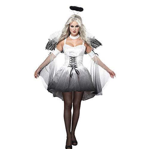 Vestido Disfraces para Mujer Blanco Negro Disfraces de Halloween Angel Caido para Cosplay Carnaval Sexy Traje 3 Piezas de Fiesta Halloween con Alas (Blanco, XL)