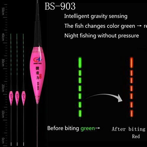 Hunpta @ Laufposen Posen Angeln, Smart Fishing Float Mit Knopfbatterie, Schwimmend,Smart Fishing Float Nacht leuchtende LED-Licht automatisch erinnern Totale Drift R (C)