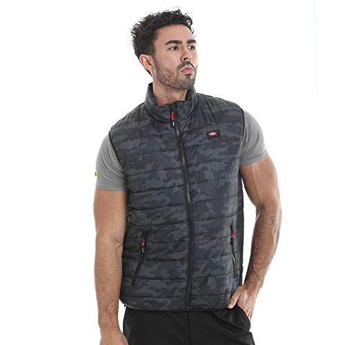 Lee Cooper Workwear LCVST708 - Chaleco de seguridad para hombre, diseño de camuflaje, ligero, acolchado, con costuras en contraste