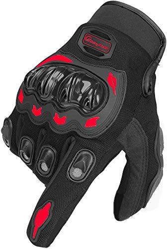 ARTOP Guantes Moto de Pantalla Táctil Guantes Motocross Verano Mujer Hombres Niño Tranpirable Guantes de Motocicleta (Rojo, M)