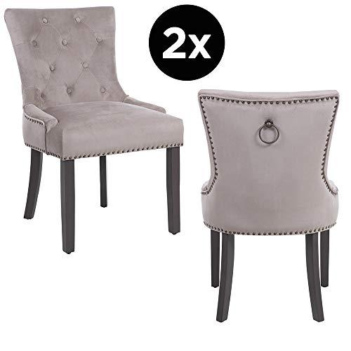 PS Global Tufted Dining Chair, Elena, laiton antique, recouvert de velours et rembourré de mousse de haute qualité, structure en bois avec pieds laqués gris (Mink)