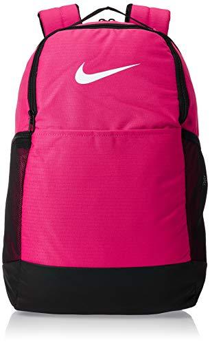 Nike Brasilia Medium Training Backpack, Nike Backpack for Women and Men with Secure Storage & Water Resistant Coating, Rush Pink/Black/White